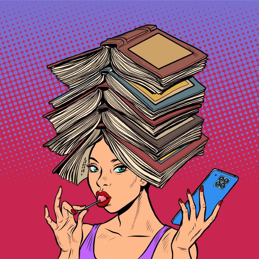 bøger hoved kvinde
