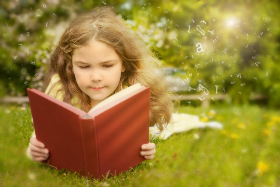 pige læser drømmer ligger natur